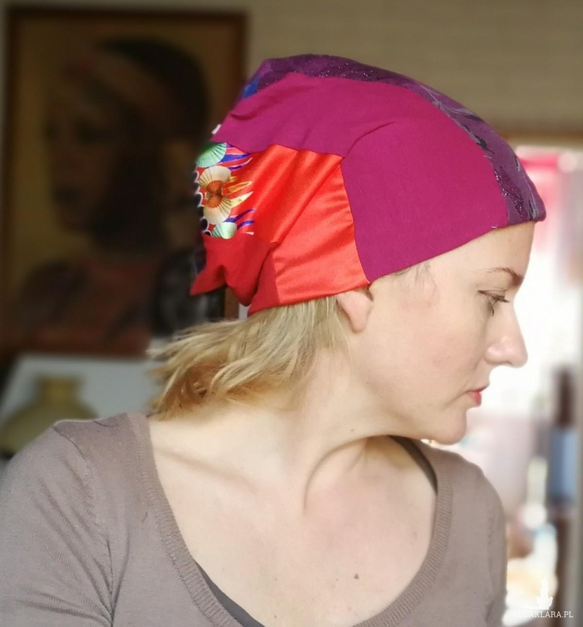 czapka damska patchworkowa dziecięca kobieca na mniejsza głowę
