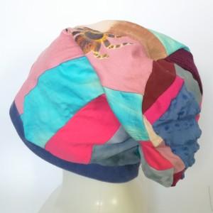 czapka turbanowa etno boho wiosenna patchwork