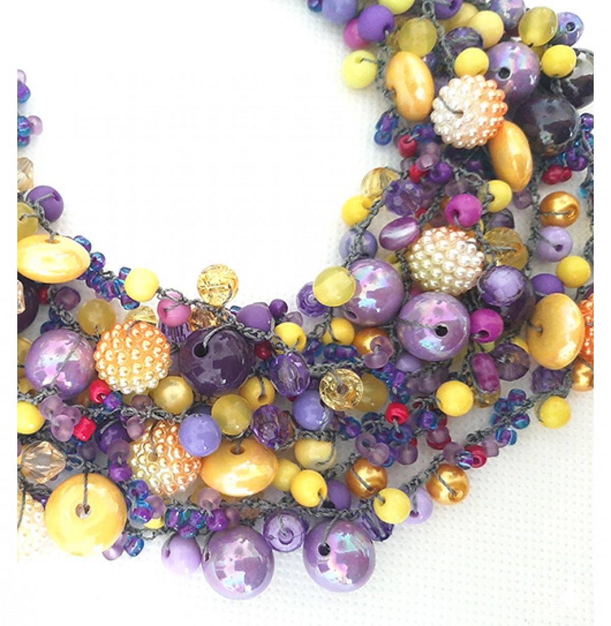4304 fioletowo żółty naszyjnik kolia