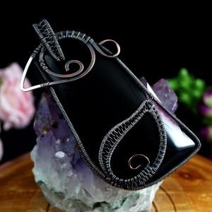 Agat, Miedziany wisior z agatem, ręcznie wykonany, prezent dla niej, prezent dla mamy, prezent urodzinowy, niepowtarzalna biżuteria,
