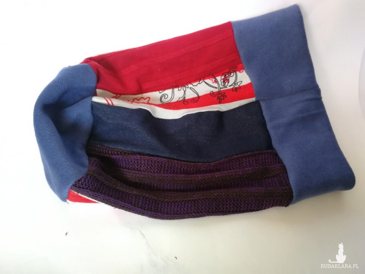 czapka patchworkowa na podszewce damska wiosenna