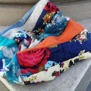 czapka patchworkowa na podszewce damska wiosenna- jesienna