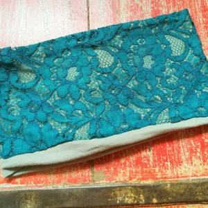 opaska damska niebieska-turkusowa koronkowa wiosenna