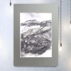 biało czarny rysunek z górami,  krajobraz górski, nowoczesna grafika do pokoju, oryginalny szkic, skandynawski styl