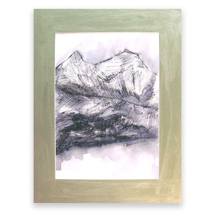 czarno biały rysunek, szkic z krajobrazem górskim, góry obraz, skandynawski styl
