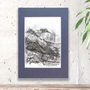biało czarny szkic z górami, górski obraz, góry rysunek, obraz skandynawski styl