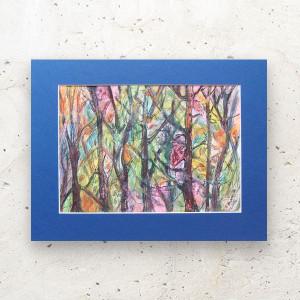ładny pejzaż do salonu, kolorowa akwarela malowana ręcznie, nowoczesny rysunek na ścianę
