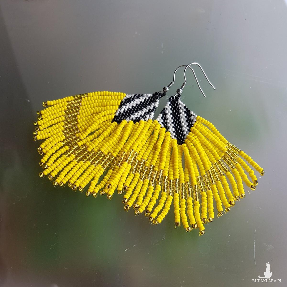 Kolczyki Boho Chic Żółte Frędzle