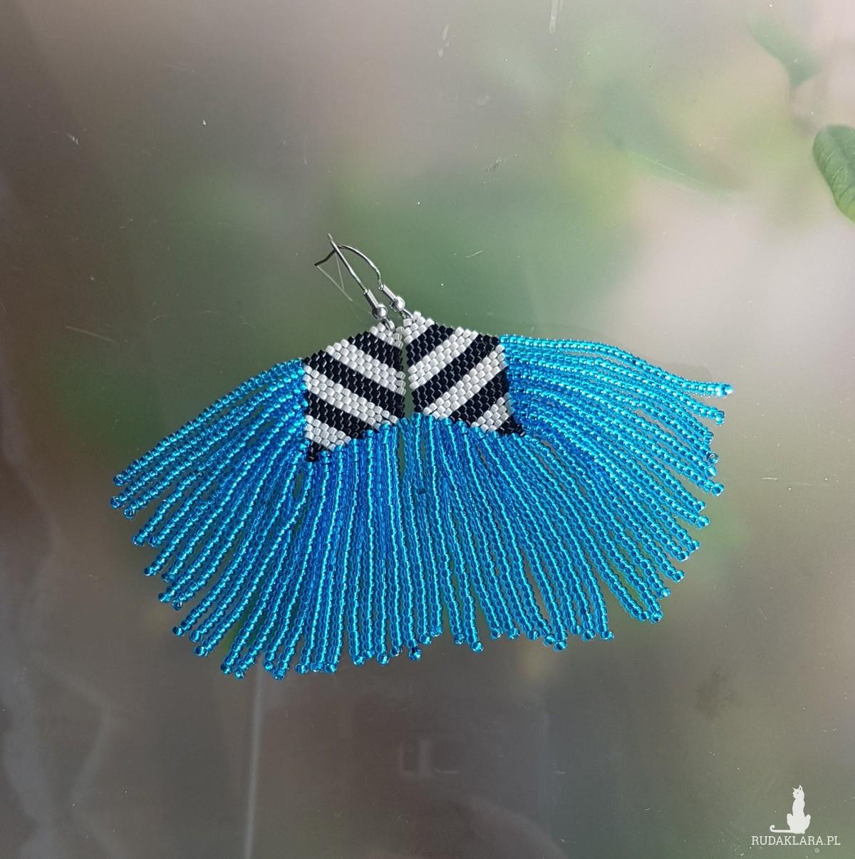 Kolczyki Boho Chic Niebieskie Frędzelki