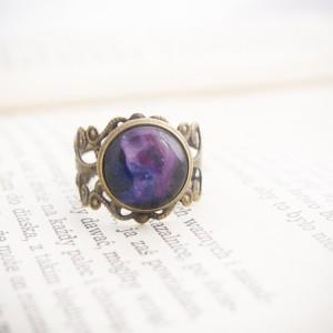 Pierścionek z ręcznie malowanym szkłem, retro pierścionek