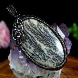 Agat dendrytowy miedziany wisior z agatem, prezent dla niej, prezent dla mamy prezent dla żony biżuteria ręcznie robiona,prezent dla siostry
