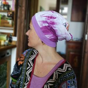 czapka damska wiosenna ręcznie farbowana góra patchworkowa