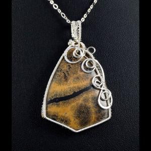 Jaspis dendrytowy, Srebrny wisior z jaspisem dendrytowym ręcznie wykonany, prezent dla niej, prezent dla mamy, prezent urodzinowy, biżuteria