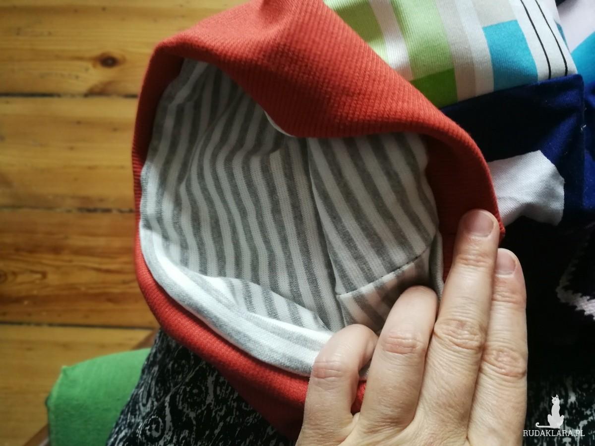 czapka smerfetka długa damska uniwersalna patchworkowa wykończona dzianiną