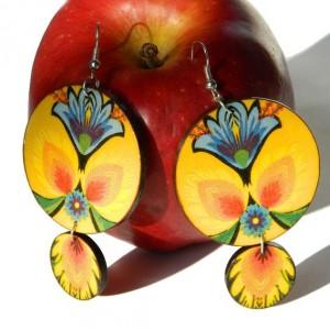 Kolczyki ludowe żółte z niebieskimi kwiatami, biżuteria folkowa, boho