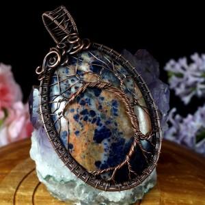 Drzewko szczęścia, miedziany wisior z Sodalitem, ręcznie wykonany, prezent dla niej, prezent dla mamy, prezent biżuteria autorska