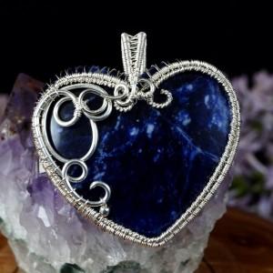 Sodalit, srebrny wisiorek z sodalitem, ręcznie wykonany, prezent dla niej, prezent dla mamy, prezent urodzinowy, niepowtarzalna biżuteria