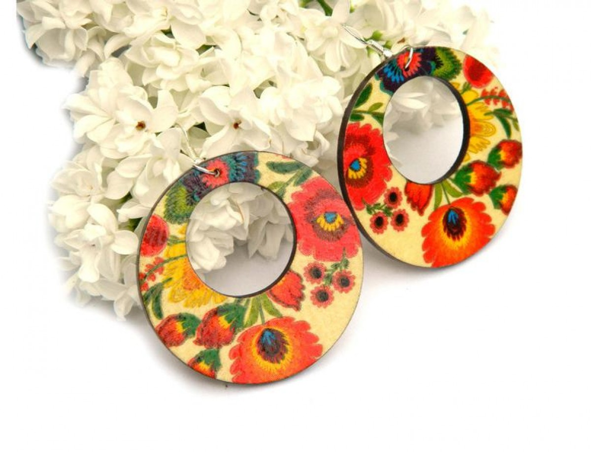 Kolczyki ludowe łowickie, biżuteria folkowa, kolczyki boho, biżuteria flamenco, Kolczyki w stylu Fridy Kahlo