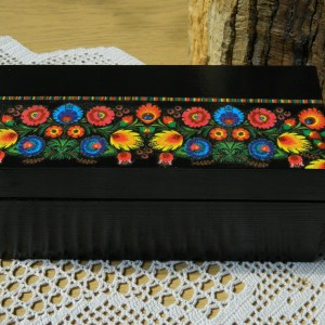 Szkatułka drewniana z motywem ludowym, Herbaciarka etno boho, Pudełko na biżuterię z drewna, Wzór łowicki