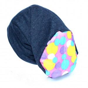 czapka dzianinowa granatowa w kropki