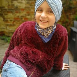 turban niebieski letni rozmiar uniwersalny tkanina