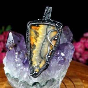 Jaspis trzmieli bumblebee, Srebrny wisior z jaspisem, ręcznie wykonany, prezent dla niej, prezent dla mamy, prezent urodzinowy, biżuteria