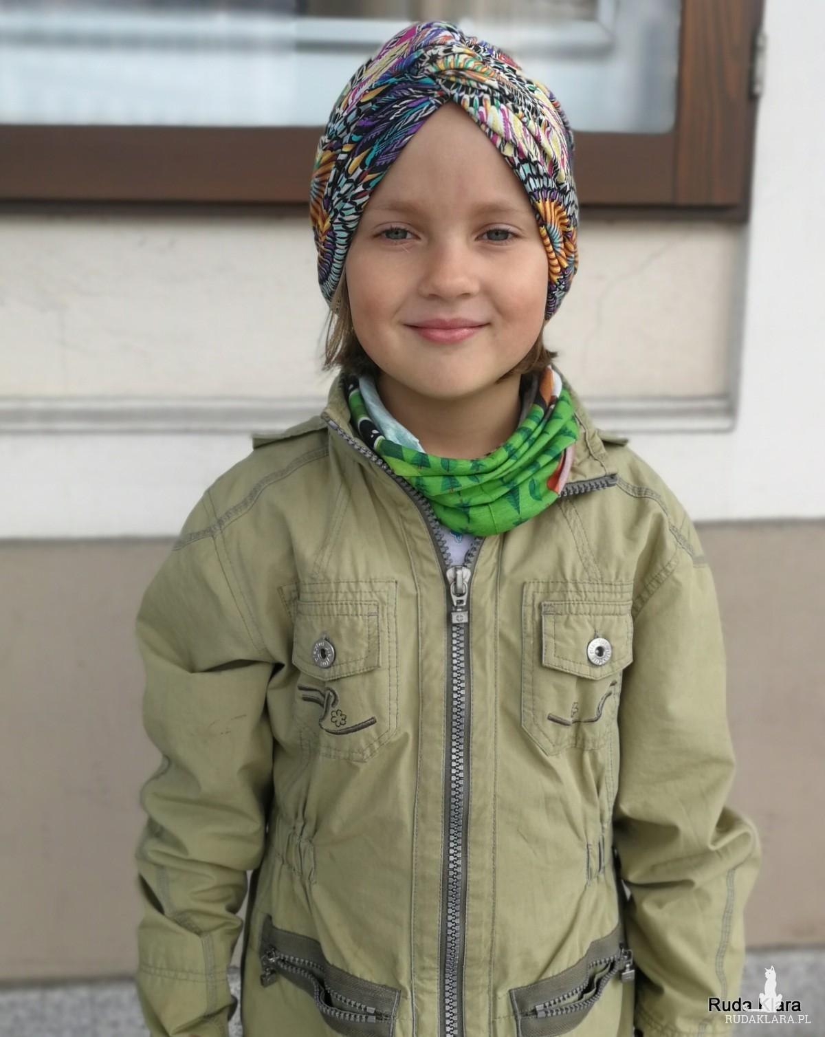 turban niebieski letni rozmiar