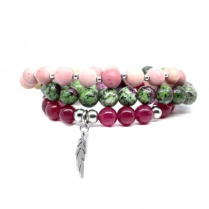 Zestaw bransoletek Colors of Nature fuksja, róż i zieleń #10