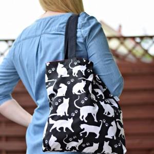 Torba na zakupy shopperka ekologiczna torba zakupowa na ramię eko siatka koty