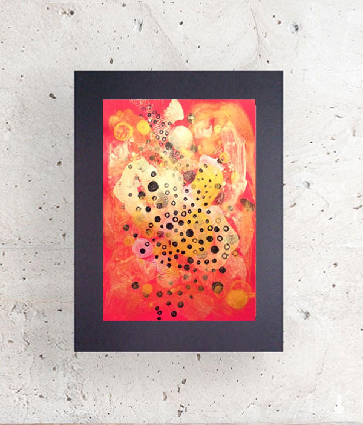 czerwona abstrakcja, minimalizm grafika, abstrakcyjny rysunek do pokoju
