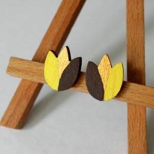 Drewniane kolczyki tulipany