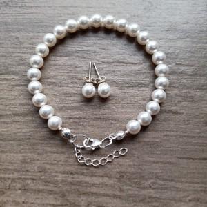 Komplet ślubny z perłami Swarovskiego w srebrze i bieli