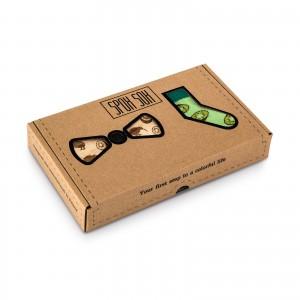 Skarpety i drewniana mucha - zestaw - model Kiwi