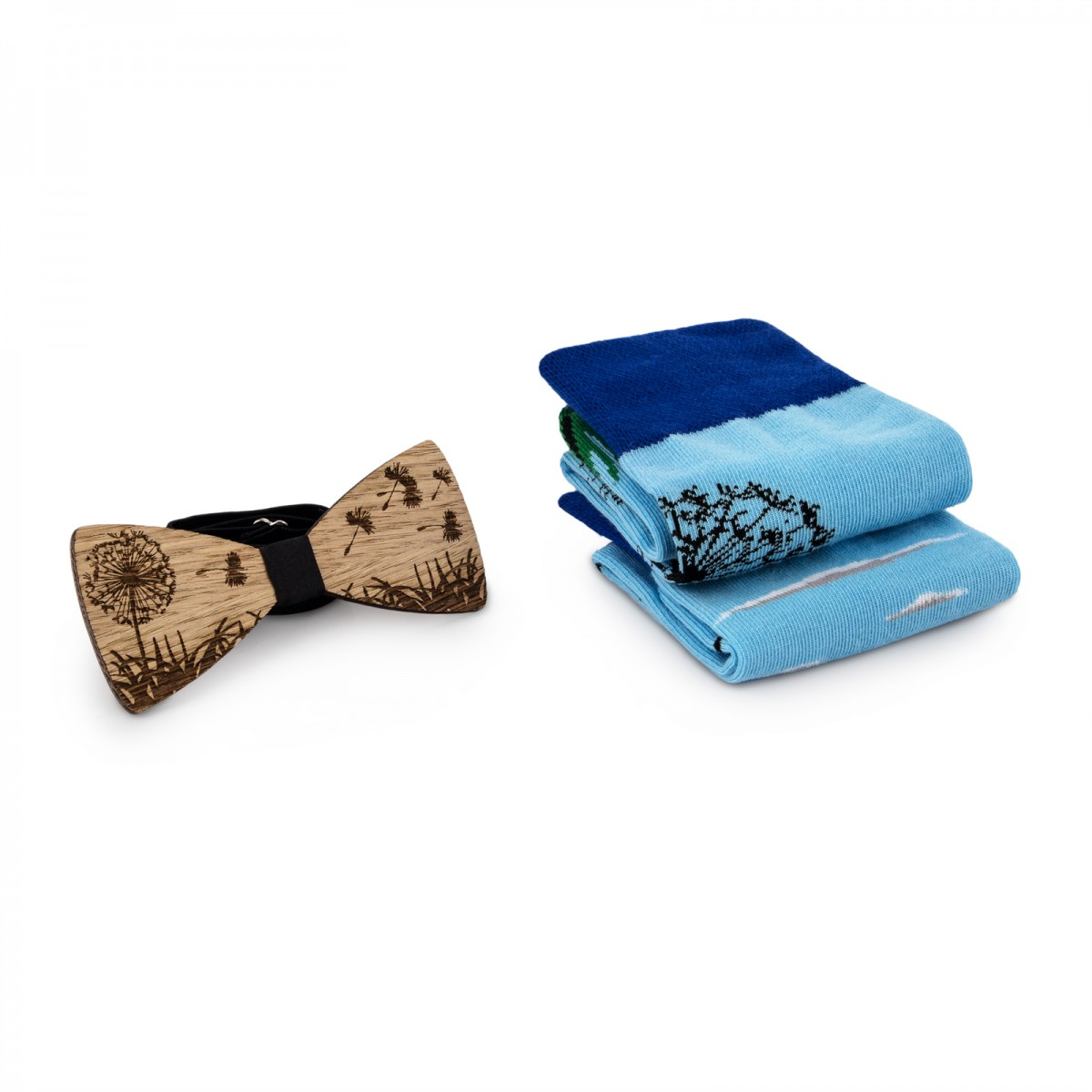 Skarpety i drewniana mucha - zestaw - model Dmuchawiec