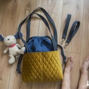 Niebiesko-miodowa pikowana torba do wózka