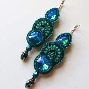 Turkusowe kolczyki z kryształkami