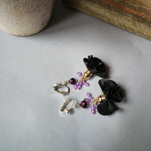 klipsy eleganckie czarno- fioletowe