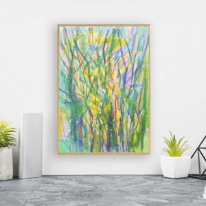 nowoczesny obraz na ścianę, maly obraz z drzewami, oprawiony rysunek do pokoju, drzewa grafika zielona