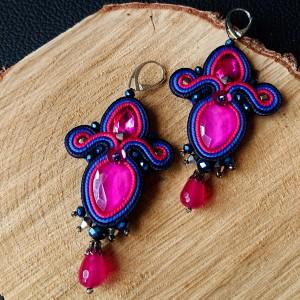 Niebiesko-różowe kolczyki z kryształkami