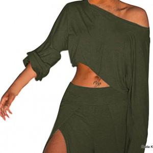 komplet bluzka i spodnie ciemna zieleń rozmiar M