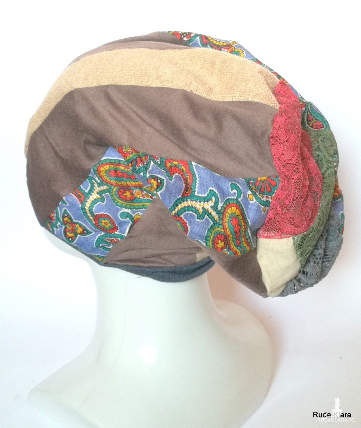 czapka damska patchworkowa na podszewce