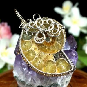 Amonit, Skamielina amonitu, Srebrny wisior ze skamieliną amonitu, ręcznie wykonany, prezent dla niej, prezent dla mamy, prezent urodzinowy
