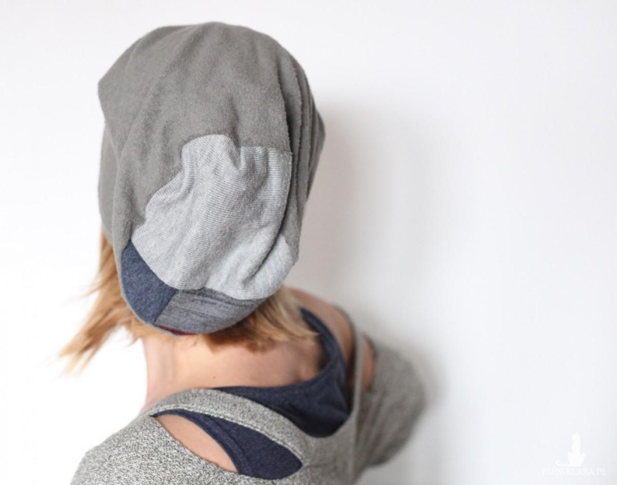 szara miękka czapka damska męska
