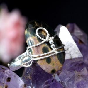 Jaspis oceaniczny srebrny pierścionek z jaspisem, pomysł na prezent, prezent dla niej, handmade, regulowana obrączka