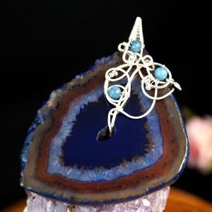 Agat niebieski, Srebrny wisior z plastrem agatu wire wrapped, prezent dla niej, prezent dla mamy, ręcznie robiona biżuteria autorska