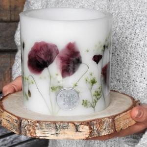 Dekoracyjny lampion świecznik MAKOWE POLE z drewnianą podkładką