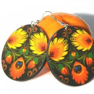 Kolczyki folkowe Słowianki, prezent dla dziewczyny lubiącej styl etno boho, biżuteria folk, ludowe