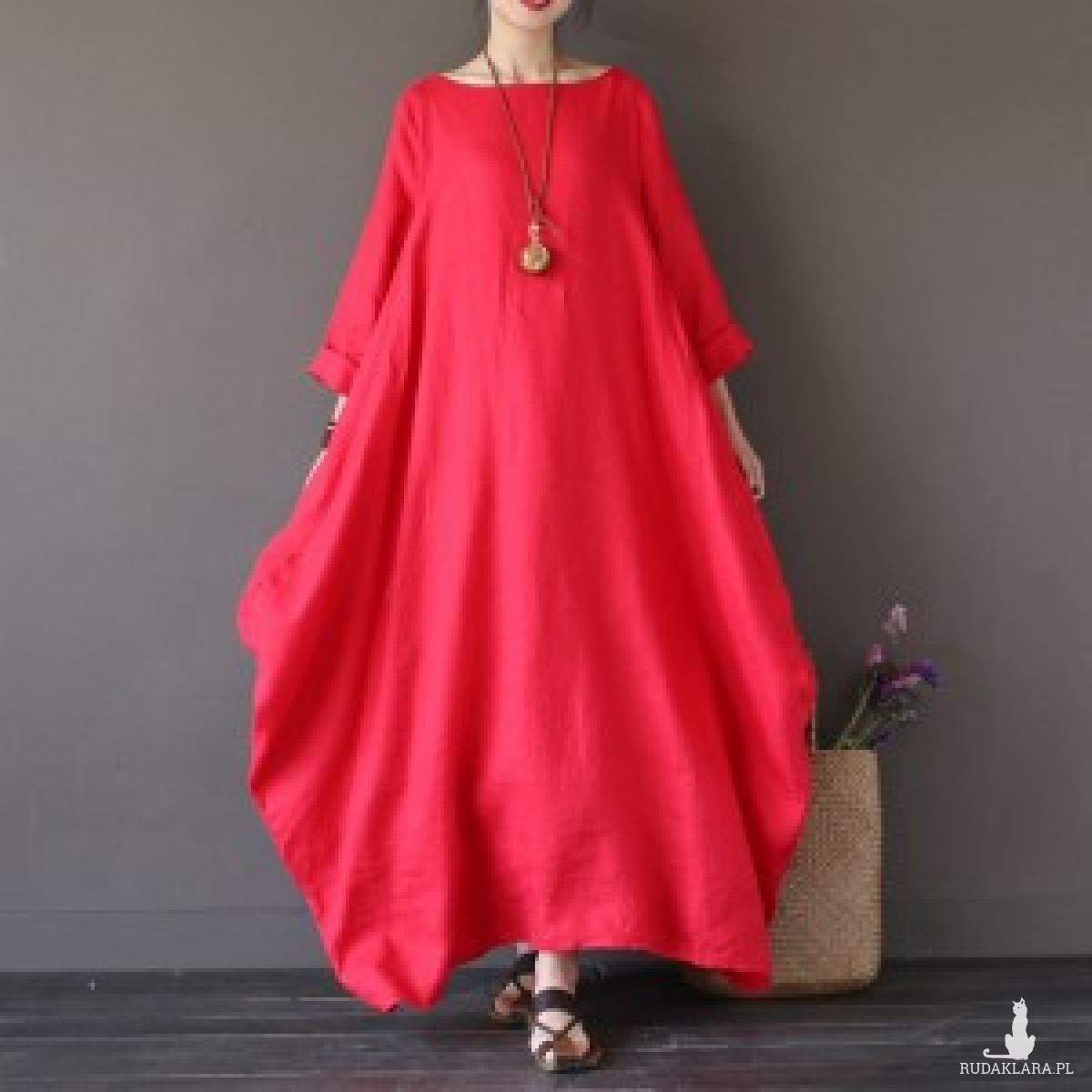 czerwona sukienka oversize bawełna – sukienka rozmiar xXl