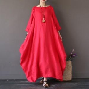 czerwona sukienka oversize bawełna – sukienka rozmiar L-Xl