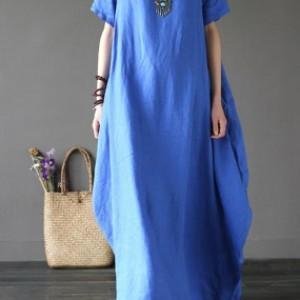 niebieska sukienka oversize bawełna